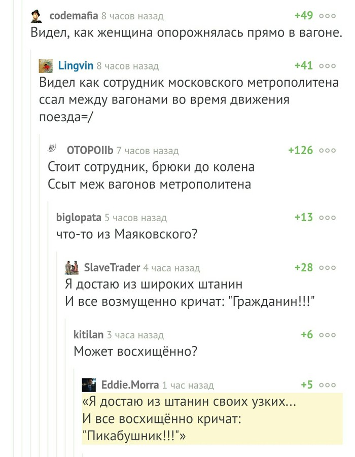 Комментарии про метрополитен. Комментарии на Пикабу, Метро, Пошлости, Длиннопост