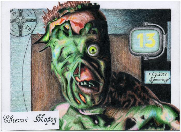 Гарольд - Fallout (1997) Рисунок, Fallout, Акварельные карандаши, Game Art, Фан-Арт, Арт, Гарольд, Игры