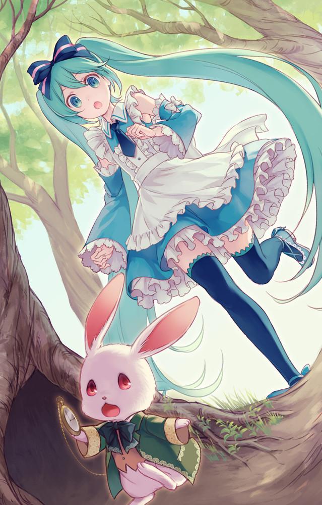 Прошу тебя, постой! Аниме, Не аниме, Vocaloid, Hatsune Miku, Crossover, Алиса в Стране чудес, Белый кролик, Anime Art