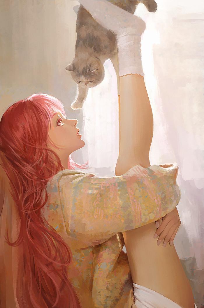 Гимнастика. Девушки, Кот, Гимнастика, Арт, Digital