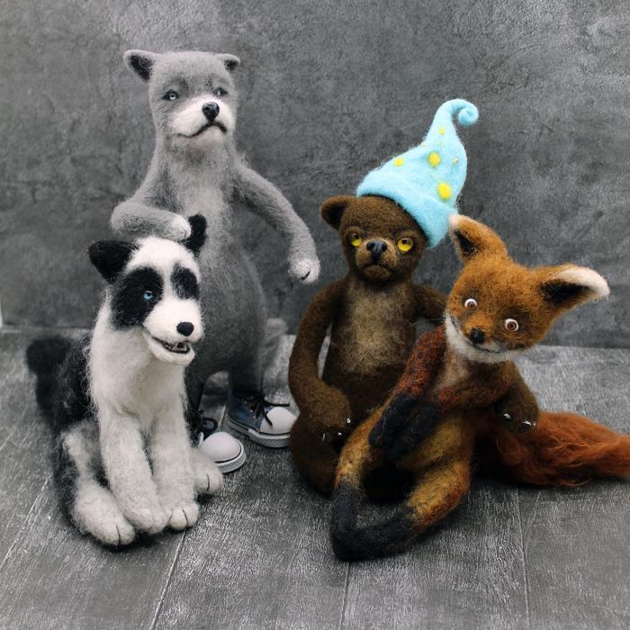 Шерстяная банда))) Сухое валяние Волк, Рукоделие без процесса, Сухое валяние, Лиса, Медведь, Собака, Шерстяной