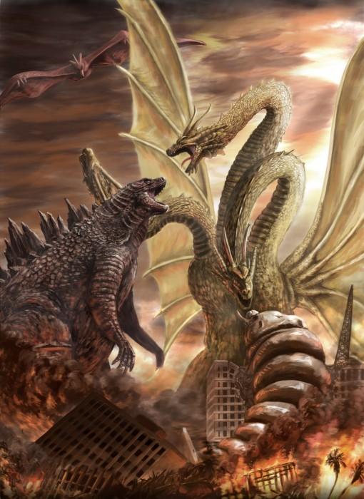 Кинг Гидора - трёхголовый крылатый, ни разу не Змей Горыныч, любимый антигерой и главный противник Годзиллы. Годзилла 2: Король монстров, Кайдзю, Обзор, Японское кино, Персонаж из фильма, Юмор, Видео, Длиннопост