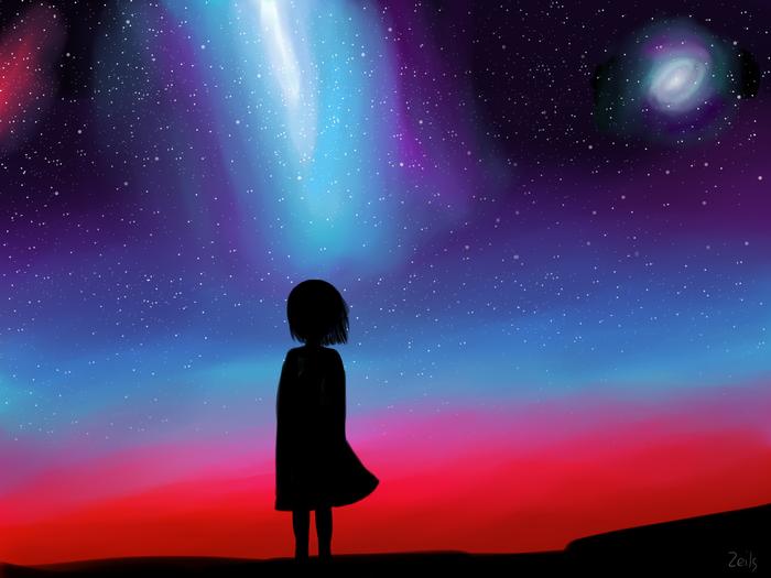 Немного неба Учусь рисовать, Художник-Самоучка, Цифровой рисунок, Небо