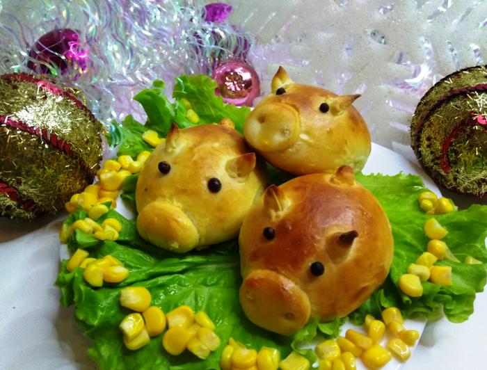Гламурные свинки булочки Видео, Длиннопост, Еда, Рецепт, Кулинария, Булочки, Свинка, Новый Год, Праздничный стол