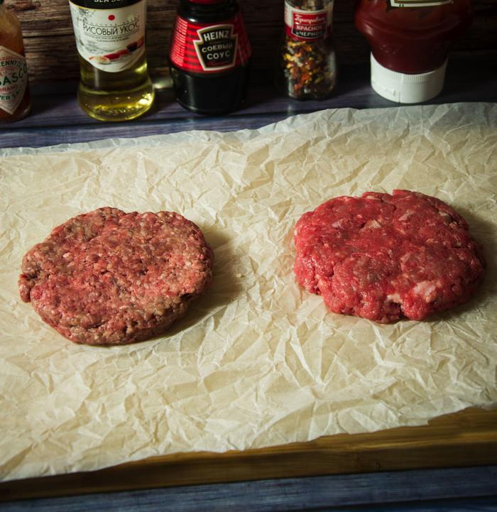 Эксперимент. Котлета из покупного фарша против котлеты из рубленого мяса + рецепт Еда, Рецепт, Бургер, Кулинария, Мясо, Наука, Эксперимент, Dinoburger, Длиннопост
