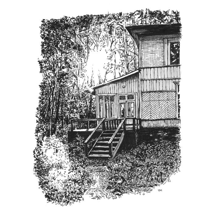 Дом в лесу Графика, Рисунок, Скетч, Лес, Дом, Длиннопост, Природа