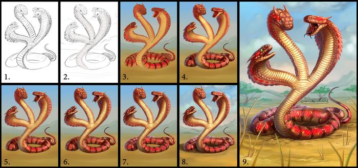 Рунослед Змея, Рисунок, Цифровой рисунок, Гарри Поттер, Mary beasts, Ад перфекциониста, Рунослед, Королевская кобра, Длиннопост
