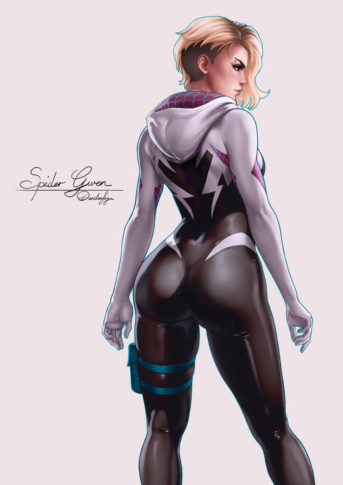 Spider Gwen Art Арт, Dandonfuga, Marvel, Spider-Gwen, Гвен Стейси, Супергерои, Девушки