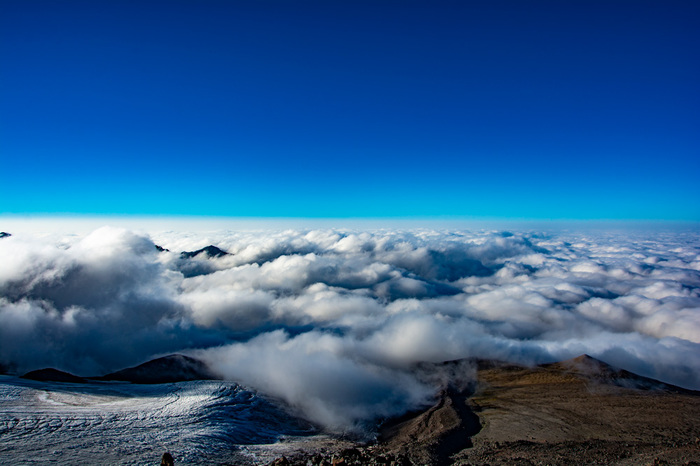 Небесная гладь Эльбрус, Горы, 3750, Небо, Облака, Ледник, Лунная поляна, Фотография