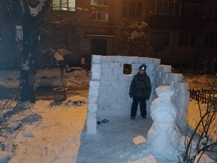 А у нас во дворе ))) Зима холода, Снежки, Местная детвора, Собака, Киев, Длиннопост
