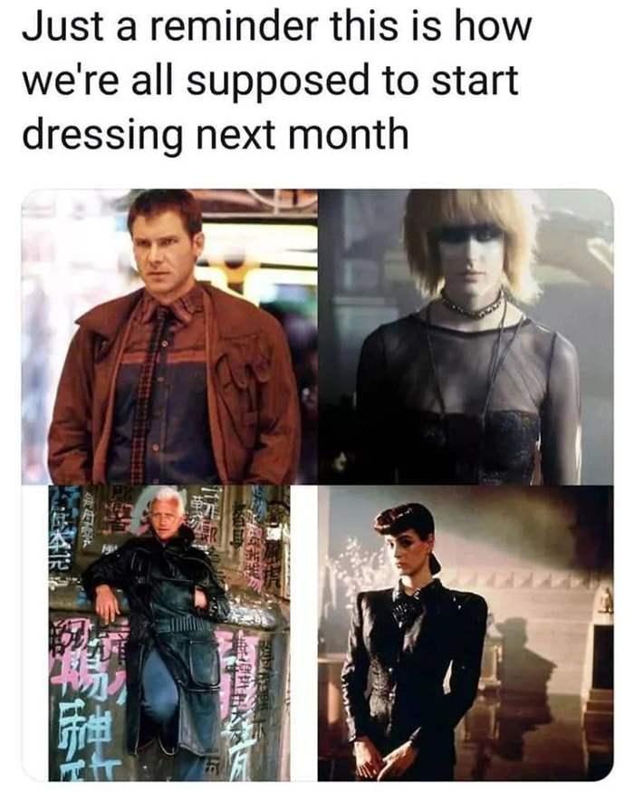 """События """"Бегущего по лезвию"""" происходят в 2019 году. Бегущий по лезвию, Одежда, Картинка с текстом"""