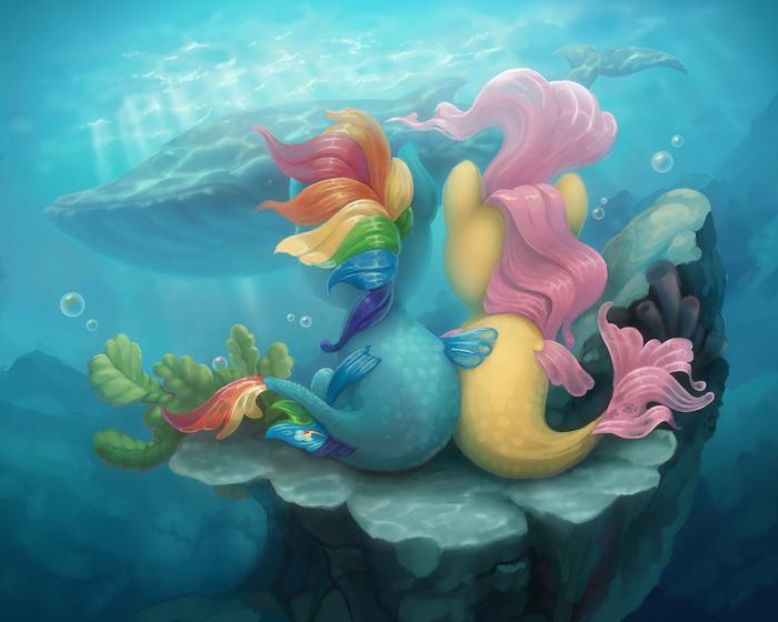 A whale My Little Pony, Seapony, Rainbow Dash, Fluttershy, Кит, Gor1ck