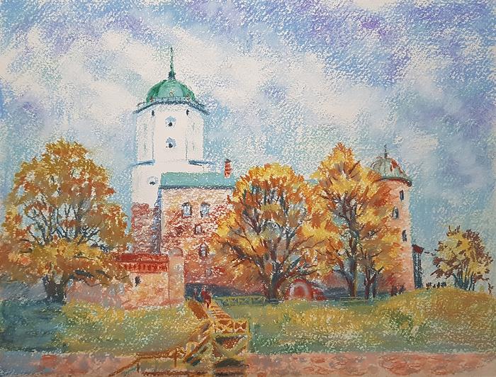 Выборгский замок Рисунок, Выборг, Пастель, Осень, Замок, Выборгский замок, Городские пейзажи, Дерево