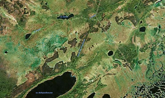 До сих пор виден на космоснимках: заброшенный канал между Енисеем и Обью Россия, История, Интересное, Длиннопост, Обь-Енисейский канал, Канал, Судоходство