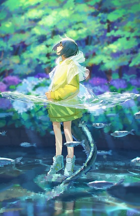 Girl Anime Art, Anime Original, Hiko_il, Аниме