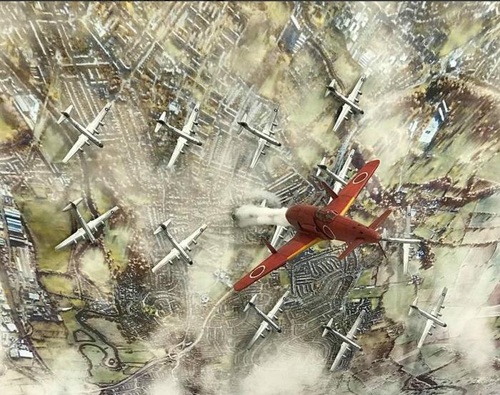 Сотрясающая молния Стендовый моделизм, Авиация, II Мировая, Японский, Истребитель, Бомбардировка, Диорама