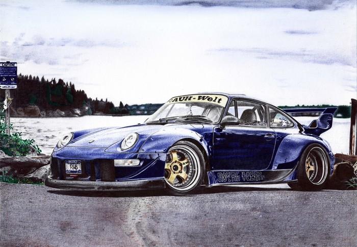 RWB Porshe 911(993) Рисунок, Арт, Авто, Шариковая ручка, Длиннопост, Рисунок ручкой, Porsche, Фотореализм