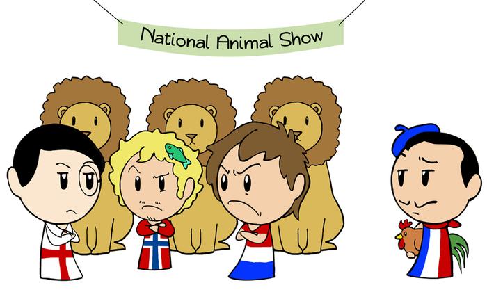Шоу национальных животных SATW, Скандинавия и мир, Комиксы, Лев, Петух, Франция, Англия, Норвегия