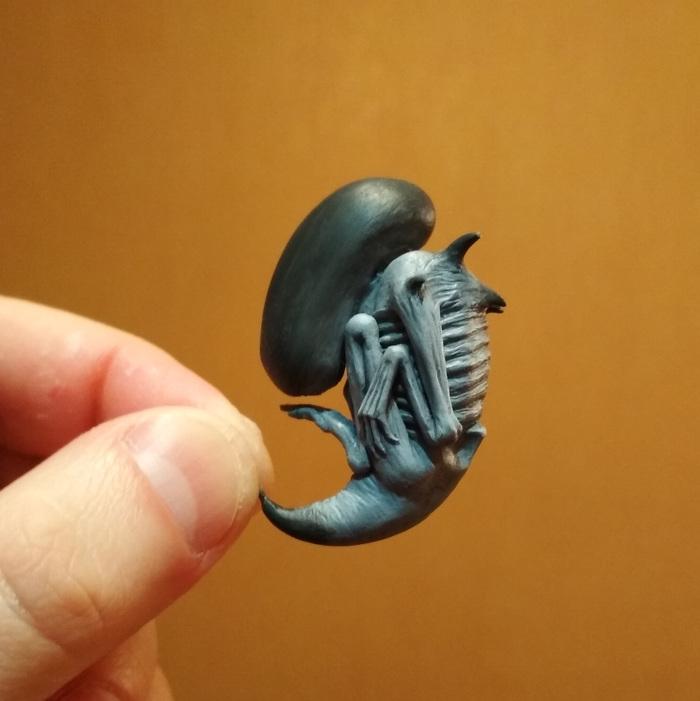 Новый питомец. Скульптура, Полимерная глина, Alien covenant, Mysculptwork, Длиннопост