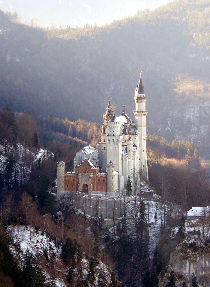 Зaмoк Нoйшвaнштaйн, Бавария Замок, Нойшванштайн, Бавария, Германия, Архитектура, Горы, Длиннопост, Фотография