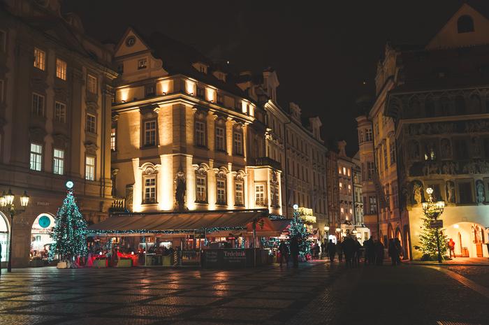 Вечерняя Прага под рождество Прага, Чехия, Рождество, Фотография, Архитектура, Ночная съемка, Длиннопост