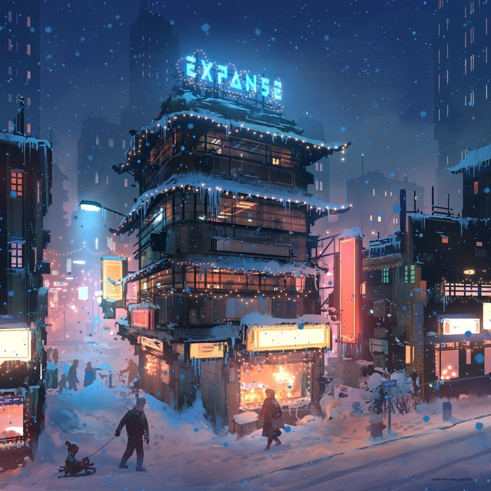 На Рождество. Рождество, Улица, Город, Снег, Digital, Nikolai Lockertsen