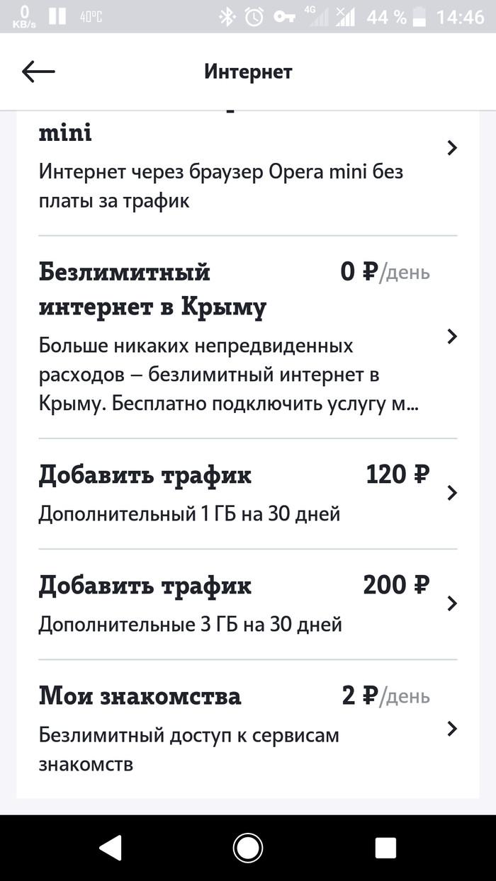 Теле 2 радует. Безлимитный интернет в Крыму за 0 рублей. Теле2, Длиннопост, Роуминг, Тарифы, Скриншот