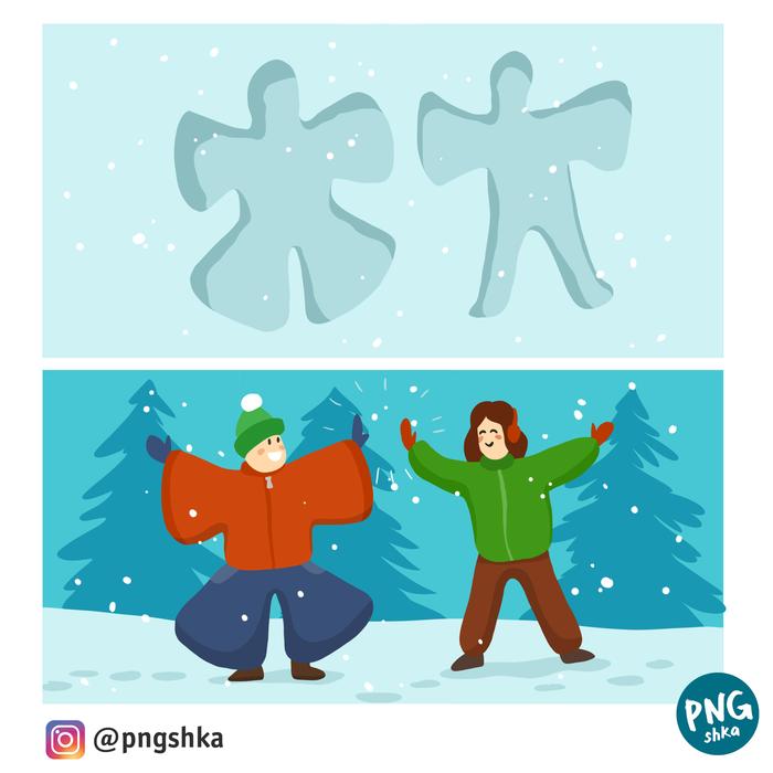 Сделай ангелочка на снегу