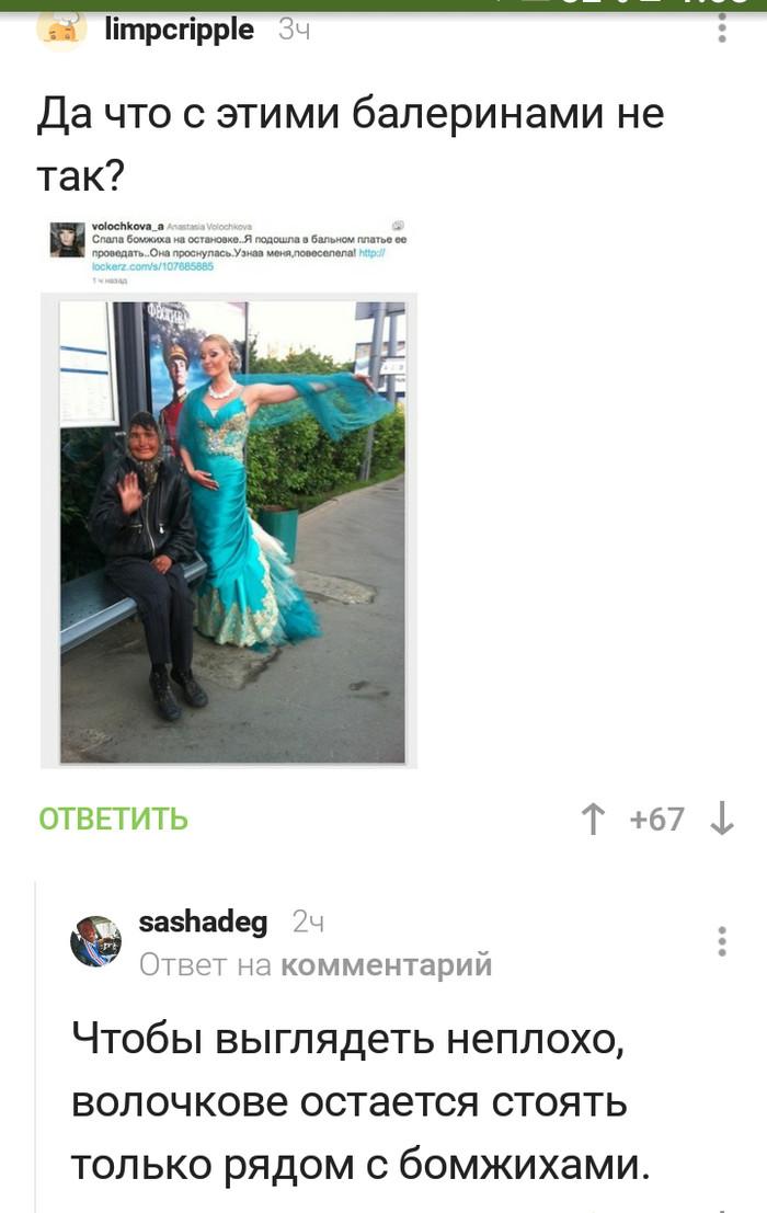 И снова комментарии) Скриншот, Комментарии на Пикабу, Комментарии, Анастасия Волочкова, Бомж