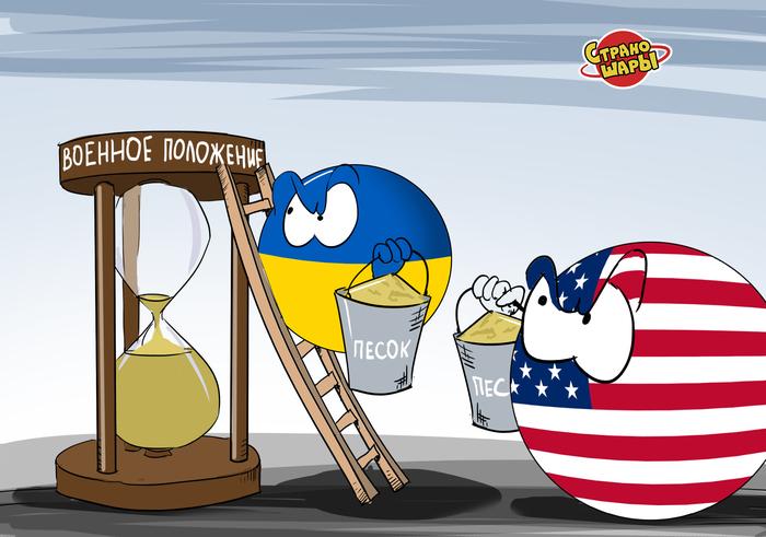 На злобу дня Украина, США, Военное положение, Countryballs, Политика