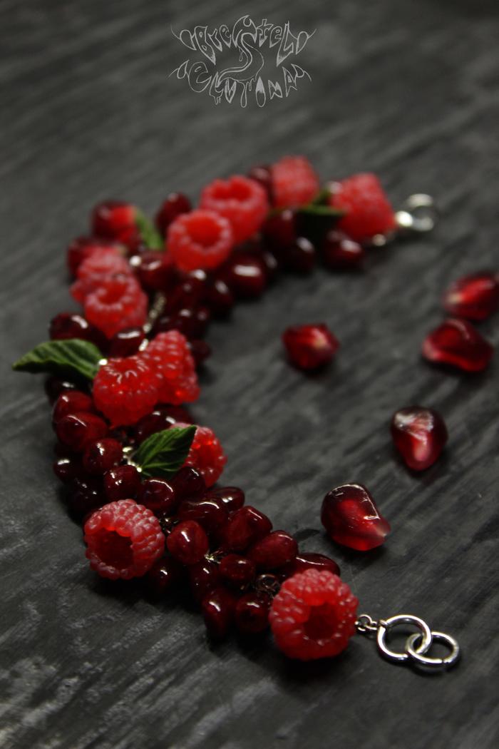 Гранатово-малиновый браслет Полимерная глина, Вкусно, Малина, Длиннопост