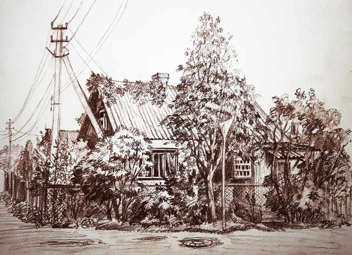 Домик в Приозерске Рисунок, Графика, Пейзаж, Рисунок карандашом, Дом, Дерево, Улциа, Приозерск