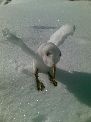 Снежная птица Снежная скульптура, Народное творчество, Родители и дети
