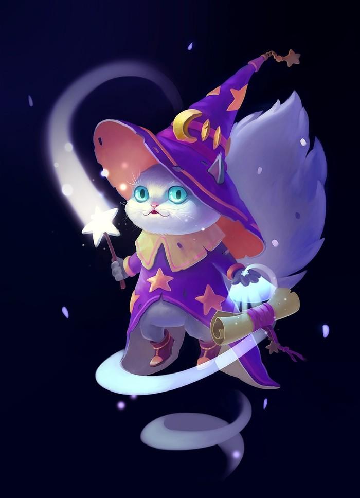 По мотивам кота Вжуха Кот, Вжух, Рисунок, Цифровой рисунок, Магия, Волшебник, Волшебная палочка