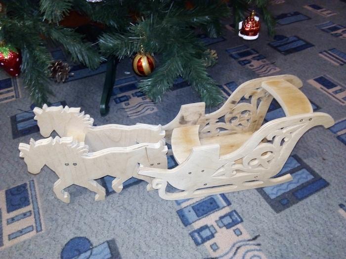 Подставка для деда мороза. Дед Мороз, Сани, Фанера, Рукоделие без процесса