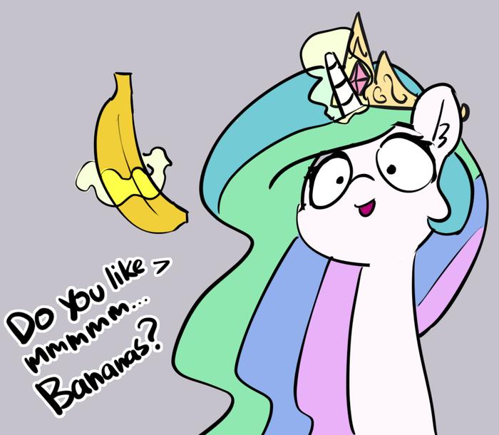 It's banana time! My Little Pony, Princess Celestia, Банан, Pabbley