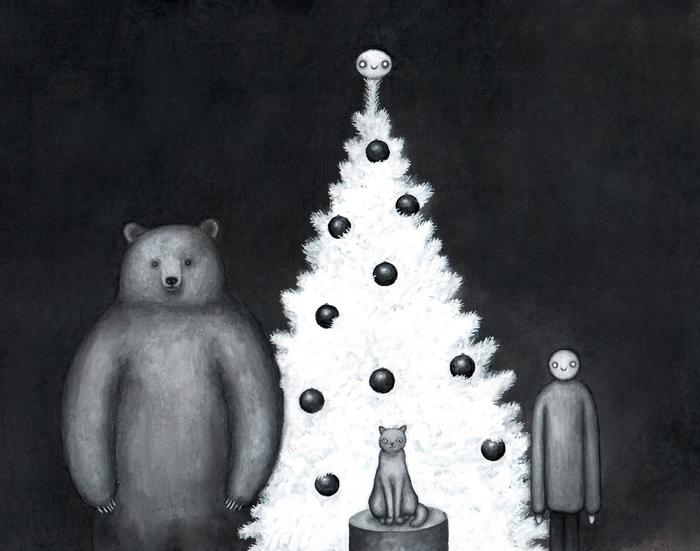 Новогодняя елка, человек, медведь, и кот Медведь, Человек, Кот, Новогодняя елка, Новый год, Картина, Гуашь