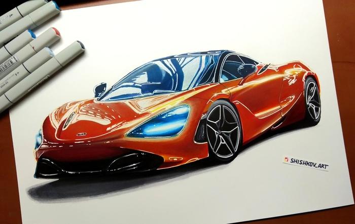 Рисунок McLaren 720s, размер листа 30*40см