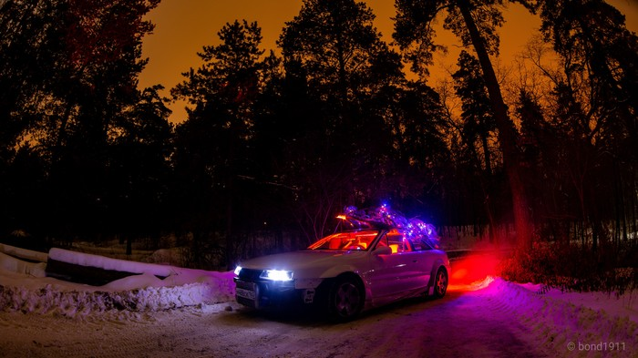 Новогоднее настроение в лесу Opel, Лес, Ночь, Новый Год, Ёлка, Гирлянда, Длиннопост