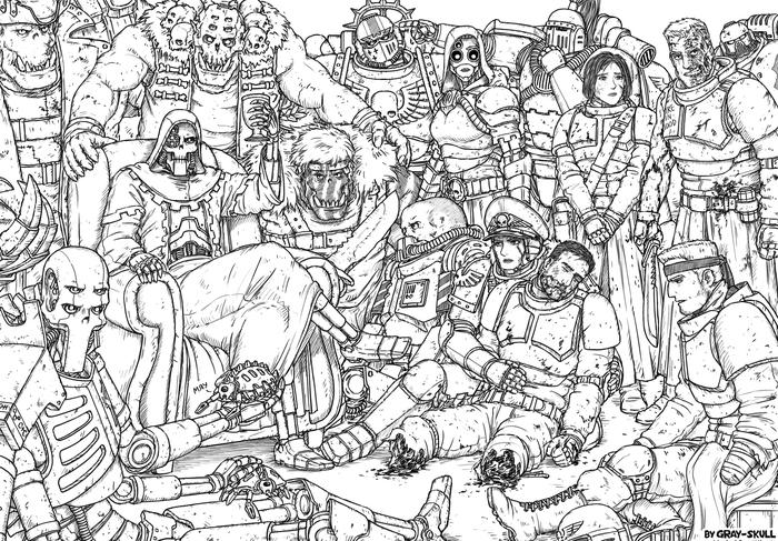С наступающим Новым Годом! (by Gray-Skull) Warhammer 40k, Комиссар Райвель, Имперская гвардия, Орки, Necrons, Новый Год, Gray-Skull, Картинки