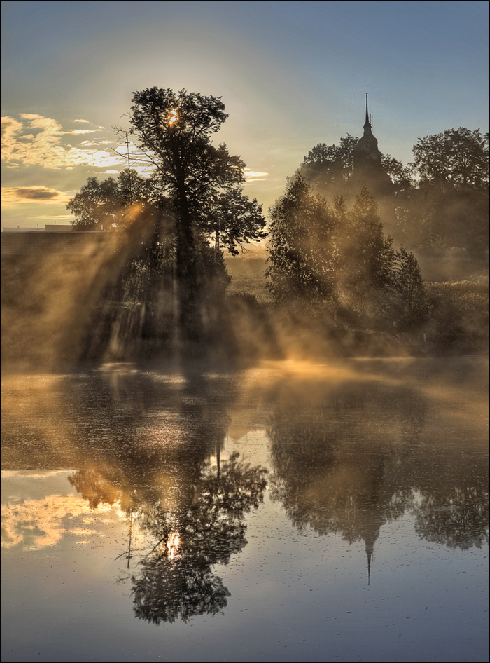 Вспоминая лето Туман, Утро, Рассвет, Пруд, Фотография, Храм