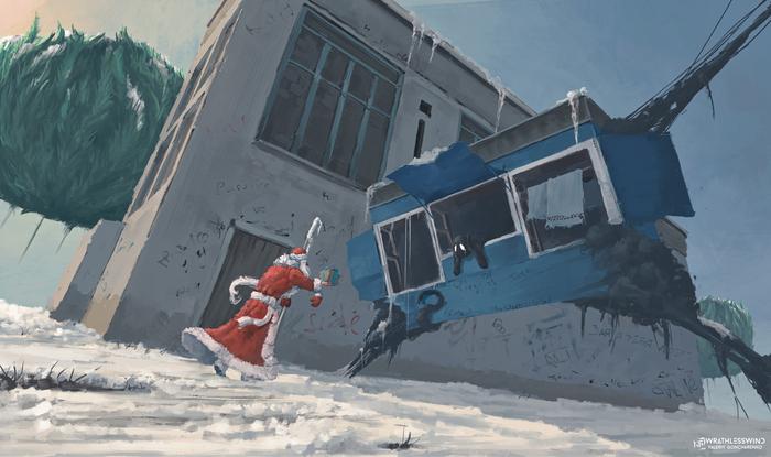 """""""Хлебушек свежий, только привезли"""" VeoWind, Порванный мир, Цифровой рисунок, Фантастика, Новый Год, Новогоднее чудо, Зима, Снег"""