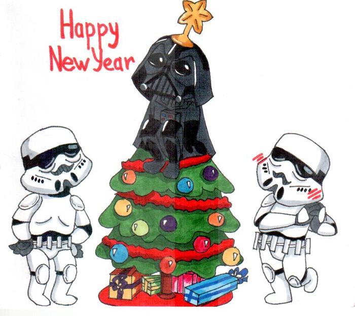 Новогодняя открытка в стиле Star Wars Star Wars, Новогодняя открытка, Ёлка, Дарт Вейдер, Штурмовик, Милота