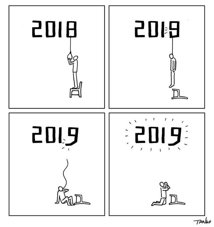 Новогодние карикатуры отTango gao 2019 Tango gao, Карикатура, Арт, Длиннопост, Суицид, Новый год, 2019, 2018