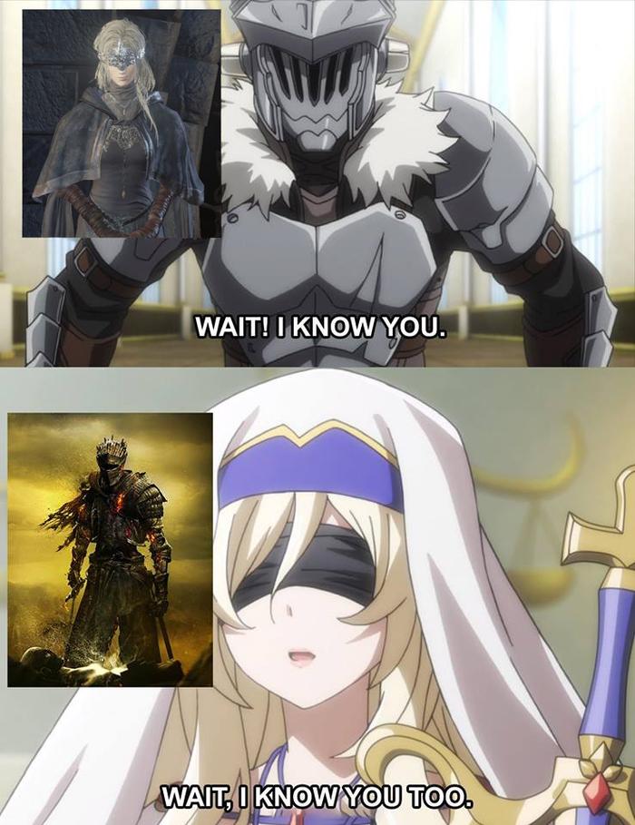 Знакомые образы. Goblin Slayer, Dark Souls 3, Crossover, Игры, Аниме