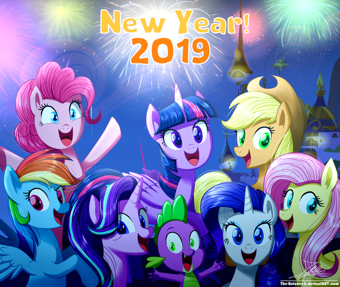 .:NEW YEAR! 2019:. My Little Pony, Mane 6, Starlight Glimmer, Spike, Thebutcherx, Новый Год, 2019