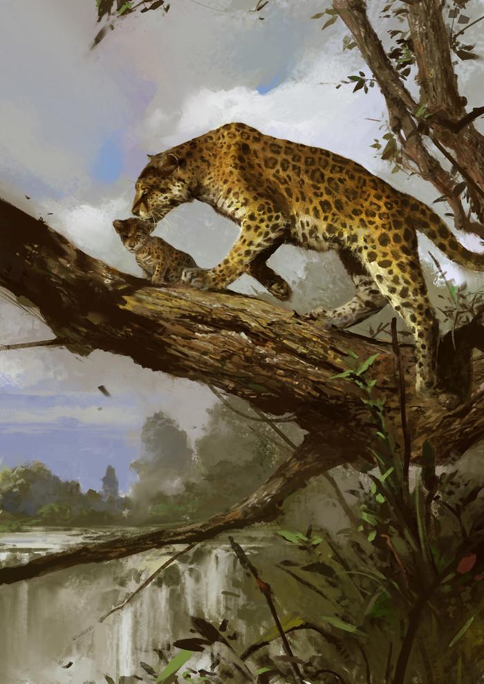Леопарды Леопард, Кот, Животные, Природа, Арт, Рисунок, Su Jian