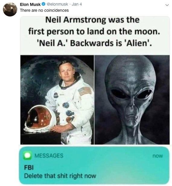 Кажется, Илон Маск что-то знает Общество, США, Луна, Пришелец, Илон Маск, Юмор, Lenta ru, Twitter