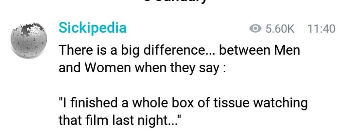 Разница между мужчинами и женщинами Юмор, Скриншот, Telegram, Sickipedia, Мужчины и женщины