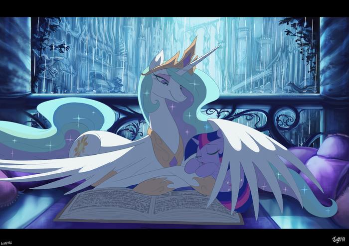 We Can Finish The Story Tomorrow My Little Pony, Princess Celestia, Twilight Sparkle, Jowybean